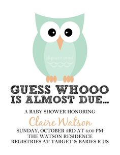 Owl Themed Baby Shower Invitation