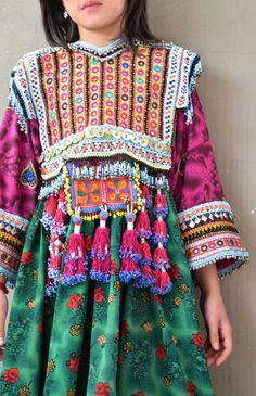 Afghan Kutchi ornate green flowered vintage gypsy by Faerymother
