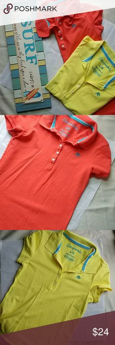 2 Aeropostale short sleeve polos Both Size large in great condition.. Pretty yellow and orange Aeropostale Tops