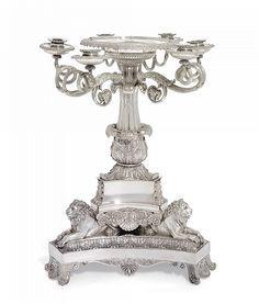 A GEORGE III SILVER CANDLEABRUM-CENTREPIECE