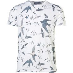 TOPMAN White Swallows Sublimation T-Shirt found on Polyvore