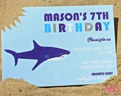 shark birthday party invitations | birthday party invitations, Party invitations