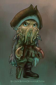Art/Drawing: Chibi Davy Jones, from Pirates of the Caribbean Kawaii Chibi, Cute Chibi, Anime Chibi, Cute Disney, Disney Art, Drawn Art, Chibi Characters, Disney Characters, Davy Jones