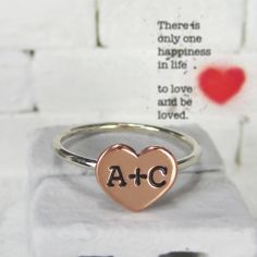 Copper and Sterling Silver Heart Initial Couple Ring Typewriter