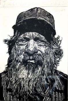 """Juan 63"" print by Neil Shigley, (1955-)  http://neilshigley.com/  Tags: Linocut, Cut, Print, Linoleum, Lino, Carving, Block, Woodcut, Helen Elstone, Profile, Portrait, Face, Man, San Diego, Large-Scale Printing, The Invisible People Series."