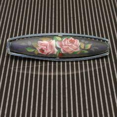 Pink Roses Bar Pin Vintage 935 Silver Matte Finish