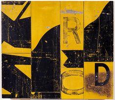 Rosalie Gascoigne  Through Road, 1991  retro-reflective roadsigns on plywood  51.2 × 59.1cm
