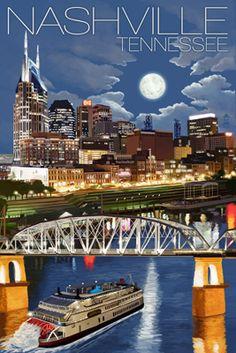 Nashville at Night - Nashville, Tennessee - Lantern Press Poster