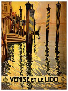 Art Venice Italy Travel Poster Italian Vintage by Blivingstons