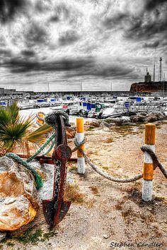 View out over the marina at Port Of Conil, Conil de la Frontera, Spain