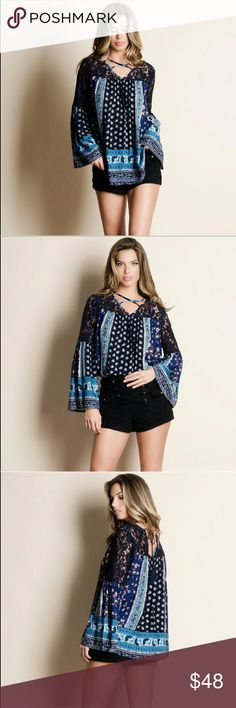 "Printed Bell Sleeve Top Print bell sleeve top Modeling size Small True to size Measurements laying flat- Small  Medium - Length 26""  Underarm-to-underarm 24.5""  Large - Length 27""  5'9"" Bust 32"" Waist 25"" Hips 36"" Tops Blouses"