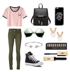 """Untitled #21"" by yasminpilar2004 on Polyvore featuring rag & bone/JEAN, Converse, Revo, Casetify, Bling Jewelry, Aamaya by priyanka, Forever 21 and Yves Saint Laurent"