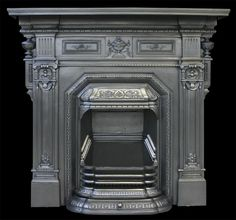 Reclaimed antique Victorian cast iron fireplace - Combination Grates