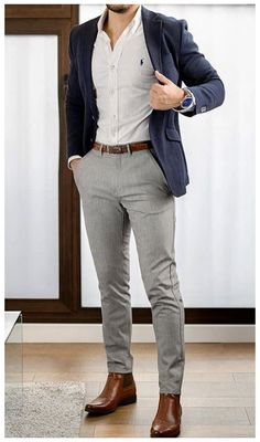 Blazer Outfits Men, Mens Fashion Blazer, Stylish Mens Outfits, Suit Fashion, Men Blazer, Mens Boots Fashion, Cool Mens Fashion, Stylish Clothes For Men, Blue Shirt Outfit Men