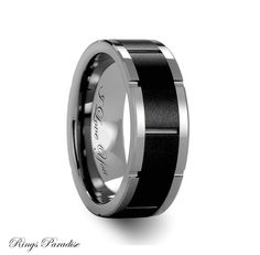 High Quality in Style Women's and Men's Tungsten Rings    Personalized Beveled Tungsten Carbide Ring with Brush Black Ceramic Center - 8mm