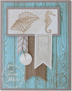 """By the Tide from Stampin Up. The Pool Party (blue) and Crumb Cake is so pretty together. The seashell and sea horse images, combined with the hardwood background really give a rustic """"Nantucket"""" beach feel to the card. The Perfect Pennants stamp set and banners dies make the greeting stand out. From Kathie Rotti."""