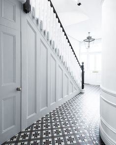 Wood Panel Hallway Hallway and Landing Design Ideas, Renovations & Photos Wood Panel Hallway Hallway and Landing Design Ideas, Renovations & Photos The post Wood Panel Hallway Hallway and Landing Design Ideas, Renovations & Photos appeared first on Home. Hall Tiles, Tiled Hallway, Hallway Flooring, Entry Hallway, Tile Stairs, White Hallway, Upstairs Hallway, Wood Stairs, Foyer
