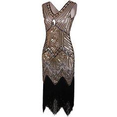 Vijiv Women Gastby Sequin Art Nouveau Embellished Fringed Flapper Dress Glam Gold X-Small Great Gatsby Outfits, Glam Dresses, Nice Dresses, Gatsby Dress Plus Size, Christmas Dance Dresses, Art Nouveau, Art Deco, Gatsby Costume, Flapper Costume