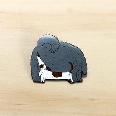 Dog enamel pin - sniffing dogs - friendship lapel pin