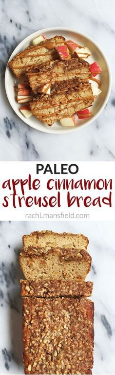 Paleo Apple Cinnamon Streusel Bread made with coconut flour. No butters, refined-sugars or heavy oils! Plus it is topped with a homemade almond flour streusel for extra nutty sweetness!