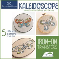 Embroidery Patterns Iron On Transfers Kaleidoscope Butterfly patterns for hand embroidery embroidery kit multi pattern collection