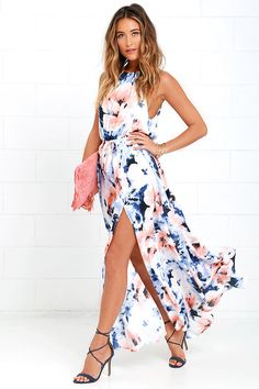 At Long Last Peach and Blue Floral Print Maxi Dressat Lulus.com!