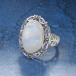 Moonstone Amethyst and Marcasite Sterling Pendant - Women's Clothing & Symbolic Jewelry – Sexy, Fantasy, Romantic Fashions
