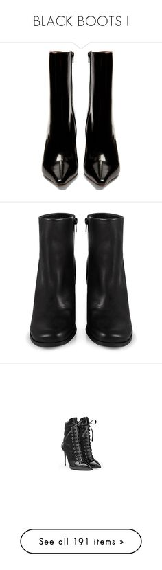 """BLACK BOOTS I"" by lipstickytoffee ❤ liked on Polyvore featuring shoes, boots, ankle booties, black ankle booties, black leather bootie, black boots, leather booties, leather bootie, black shoes and kohl boots"