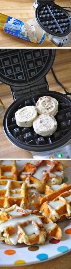 Cinnamon Roll Waffles: Made for breakfast today. Be careful what temp you have waffle iron set on, burned the first batch. Only makes 3 waffles per can of cinnamon rolls. Breakfast Desayunos, Breakfast Dishes, Breakfast Recipes, Breakfast Ideas, Birthday Breakfast, Breakfast Casserole, Breakfast Healthy, Brunch Ideas, Healthy Waffles