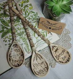 Kitchen witch spoonwitchy wooden by heARTofNatureStudio on Etsy Wooden Spoon Crafts, Wooden Spoons, Witch Cottage, Witch House, Wiccan Decor, Halloween Kitchen, Pagan Art, Wood Burning Crafts, Kitchen Witchery