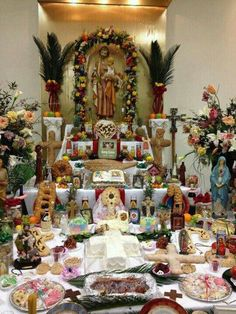 St Joseph's Day Altar  This celebration, on March 19, was held every year in my grandmother's home.  Food was everywhere.  One year we had over 900 people come to her home to eat.  We cooked all year long.  It was really something to see.  Sorry these times are gone.