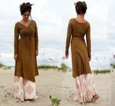Below Knee Flip Wrap Dress (hemp/organic cotton knit)