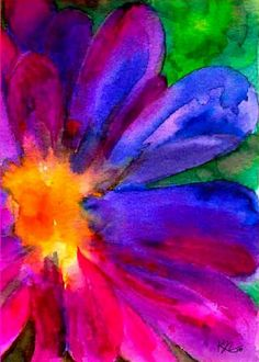 Happiness Flower - (watercolor)  by Karin Nemri - Print available for purchase  ---*---   WOW, the colors.  NICE