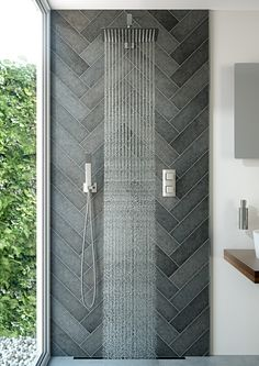 VADO is delighted to announce the launch of Tablet, an elegant, stylish new range of horizontal and vertical thermostatic valves. Compact in form, unique in operation, Tablet offers exceptional functionality. Bad Inspiration, Bathroom Inspiration, Herringbone Tile, Shower Systems, Downstairs Bathroom, Wet Rooms, Shower Enclosure, Bath Remodel, Bathroom Interior Design
