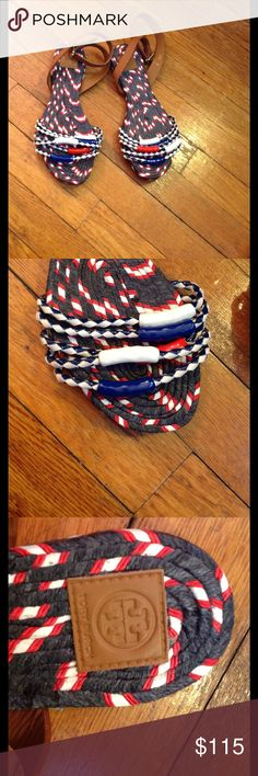 NWOB Tory Burch Red White & Blue Beaded Sandals Red white and blue footbed Red white and blue beads Leather ankle strap Store stickers are attached Tory Burch Shoes Espadrilles