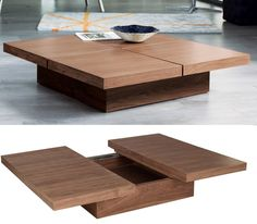 Square wood coffee table with storage
