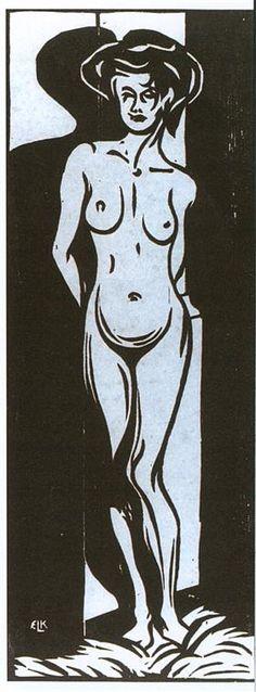 NudeYoung Woman in Front of a Oven, 1905 Ernst Ludwig Kirchner Ernst Ludwig Kirchner, Linocut Prints, Art Prints, Gravure Photo, Art Carved, Erotic Art, Gustav Klimt, Art Forms, Folk