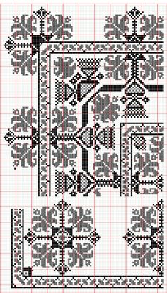 Red and black border pattern Cross Stitch Borders, Modern Cross Stitch, Cross Stitch Charts, Cross Stitch Designs, Cross Stitching, Cross Stitch Patterns, Hungarian Embroidery, Folk Embroidery, Cross Stitch Embroidery