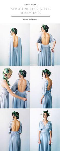 David's Bridal Versa convertible bridesmaid dress - Great option for a bridesmaid dress to flatter everyone!