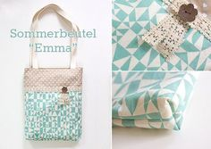 """Sewing instructions & patterns for the fabric bag """"Emma"""" Nähanleitung & Schnittmuster für den Stoffbeutel """"Emma"""" Sewing instructions & patterns for the fabric bag """"Emma"""" Diy Bags Purses, Purses And Handbags, Diy Leather Tote, Sewing Hacks, Sewing Projects, Diy Accessoires, Techniques Couture, Diy Handbag, Love Sewing"""