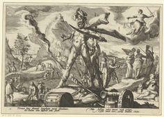 Hendrick Goltzius   De IJzeren Eeuw, Hendrick Goltzius, Franco Estius, 1589   Verbeelding van het leven tijdens de IJzeren Eeuw: soldaten verwonden, doden of verjagen mensen, gebouwen staan in brand. Op de voorgrond de god Mars. In de wolken vrouwe Justitia, afgewend. Onder de voorstelling twee keer twee regels Latijnse tekst. Deze prent is onderdeel van een serie van 52 prenten die verhalen uit Ovidius' Metamorfosen verbeelden. Deze serie valt uiteen in drie genummerde reeksen: twee van 20…