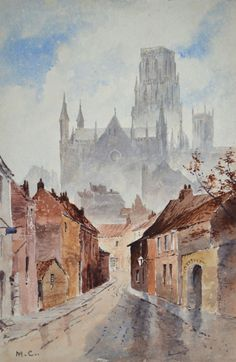 York Minster UK. Antique Collectors Watercolor Painting Minta Cookson c. 1900 #Impressionism