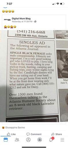 #Singles #ad #Girls #Dog #Funny #LOL #Humor #Jokes #newspaper #LOL