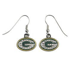 Green Bay Packers Rhinestone J-Hook Earrings