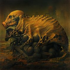 Pretty sure nothing good is going to hatch from those eggs...  Just a fun bit of surreal horror art from Dariusz Zawadzki, to creep you out and brighten your day :)  This eerie oil painting has a dark fantasy creature - looks like an unholy steampunk / cyberpunk biotech accretion (cybernetic skeleton, the robot offspring of a gas mask, and the tanned skin of I don't even want to know what), brooding over a clutch of mutant eggs.  Enjoy your nightmare fuel / cool dystopian future :)