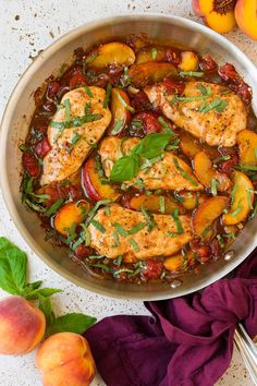 Balsamic Peach Chicken Skillet I told you I've been adding peaches to everything lately, even our main dish at dinner. Peaches go so well with chicken so I knew I had to try this Balsami Summer Chicken Recipes, Chicken Skillet Recipes, Summer Recipes, Peach Chicken, Basil Chicken, Glazed Chicken, Chicken Pizza, Easy Skillet Dinner, Light Summer Meals