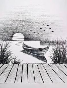 Art Drawings Beautiful, Dark Art Drawings, Art Drawings Sketches Simple, Pencil Sketches Of Nature, Beautiful Scenery Drawing, Detailed Drawings, Beautiful Sunset, Drawing Scenery, 3d Art Drawing