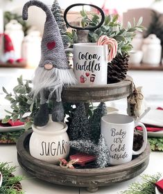 48 Easy DIY Indoor Christmas Decor and Display Ideas - Easy DIY Indoor Christmas Decor and Display Ideas, Ways To Decorate Your Tiered Tray For Christmas, Kitchen Counters, or Fireplace Mantle Decorating, Christmas Decor - Christmas Gnome, Christmas Door, Christmas Photos, Winter Christmas, Christmas Signs, Christmas Trees, Farmhouse Christmas Decor, Rustic Christmas, Elegant Christmas
