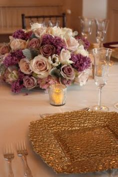 Perfect ivory and antique purple low centerpiece