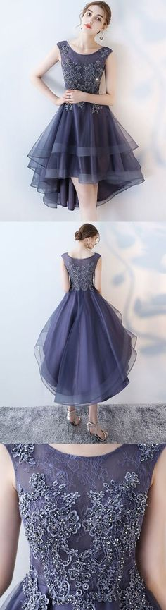 Dark Grey lace homecoming dresses,high low prom dresses,cheap prom dresses M3065
